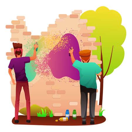 Painting graffiti on wall flat vector illustration