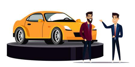 Top car motor show flat vector illustration