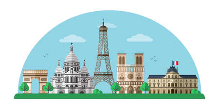 Paris city flat vector banner template Illustration