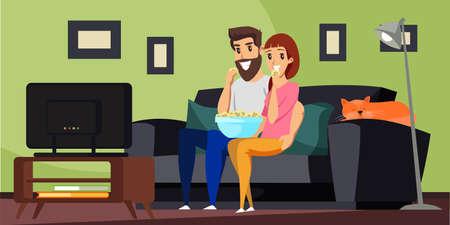 Couple watching TV flat vector illustration Ilustracja