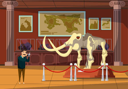 Mammoth bones exhibition flat vector illustration