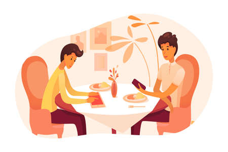 Dad and son have dinner at restaurant illustration