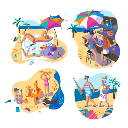 People on summer vacation flat illustrations set