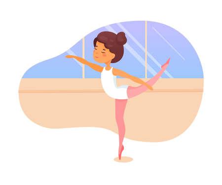 Ballet dancer lesson flat vector illustration
