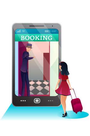 Reservation hotel online flat vector illustration