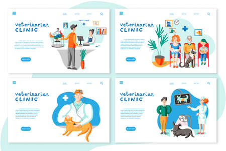 Veterinarian clinic landing page layouts. Owners with pets in vet clinic illustrations set Ilustrace