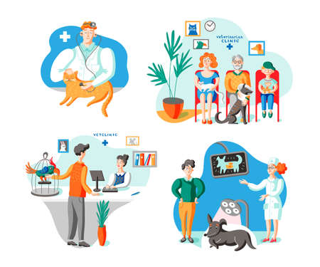 Owners with pets in vet clinic illustrations set