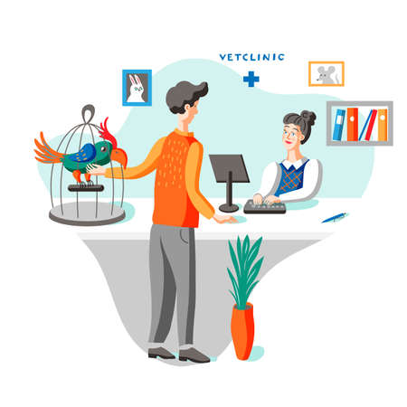 Man with parrot at vet clinic flat illustration Ilustrace