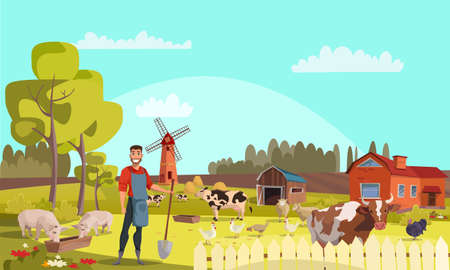 Farmer with shovel flat vector illustration Reklamní fotografie - 138168082