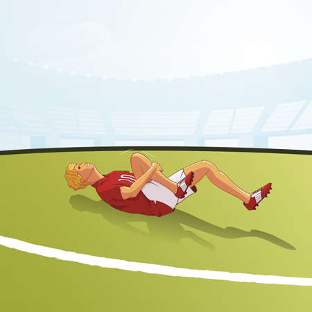 Injured footballer lying on ground illustration