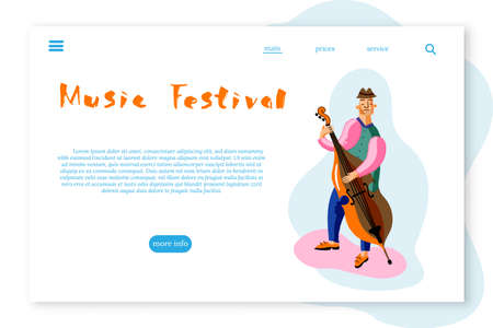 Music Festival landing page layout. Double bass player cartoon character Ilustrace