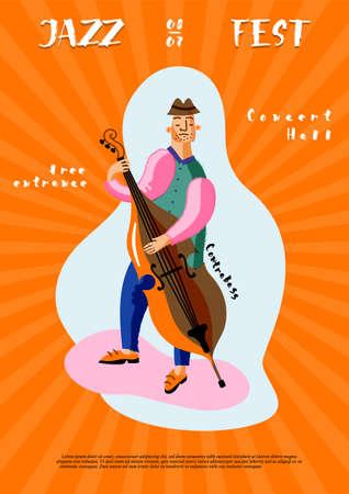 Jazz Fest leaflet template. Double bass player cartoon character
