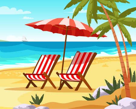 Seaside vacation flat vector illustration