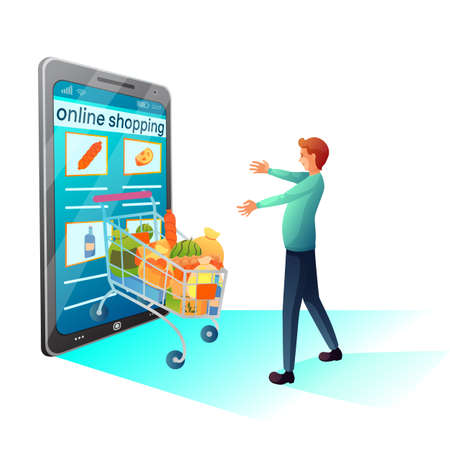 Online grocery shopping flat vector illustration
