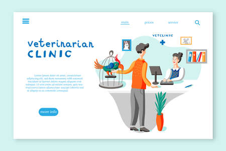 Veterinarian clinic landing page layout. Man with parrot at vet clinic flat illustration