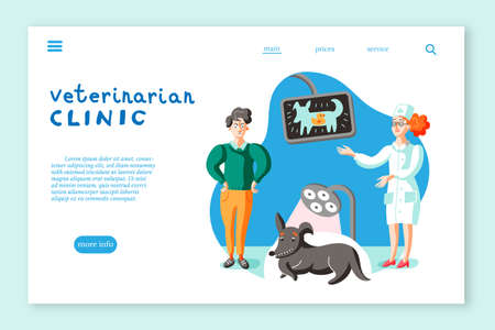Veterinarian clinic landing page layout. Man with dog at veterinary office illustration