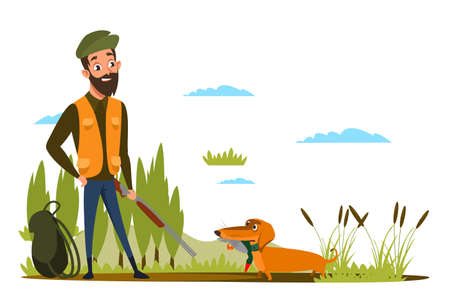 Duck hunting hobby flat vector illustration