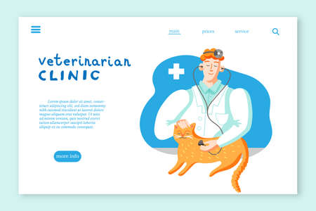 Veterinarian clinic landing page layout. Cat in veterinary office flat vector illustration Ilustracja