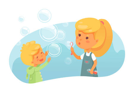 Kids blowing soap bubbles flat vector illustration Иллюстрация