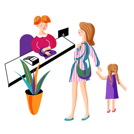 Mom shopping with daughter vector illustration
