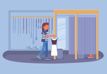 Dress fitting, shopping flat vector illustration Illustration