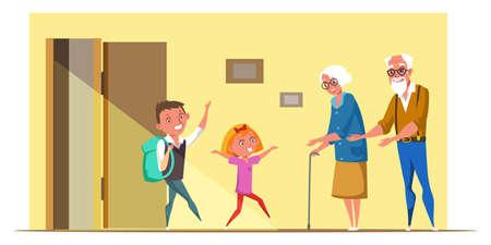 Les enfants visitent l'illustration vectorielle plane des grands-parents Vecteurs