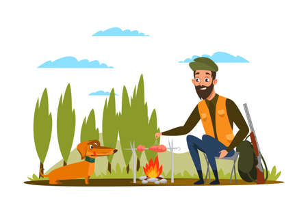 Man with dog at campfire flat vector illustration