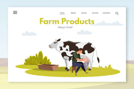 Farm products landing page layout. Farmer milking cow flat vector illustration