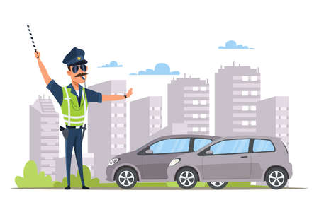 Car traffic control flat vector illustration Illustration