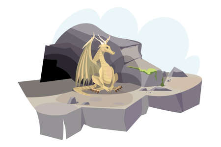 Dragon near cave flat vector illustration