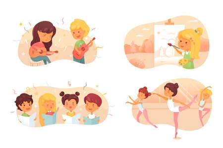 Talented children flat vector characters set