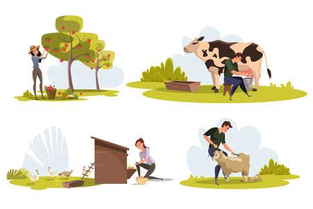 Farmers at work flat vector characters set