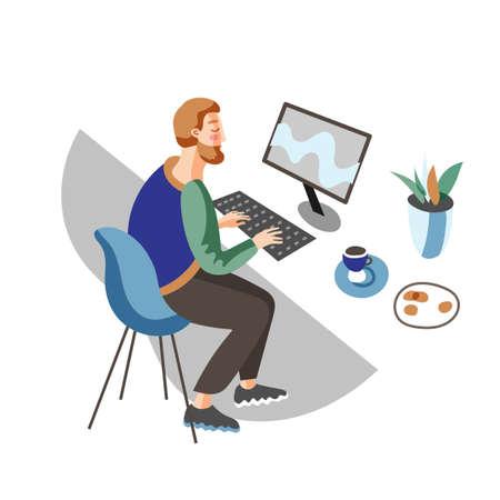 Programmer at work flat vector illustration