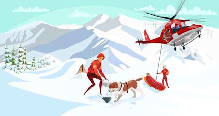 Alpine rescue service flat vector illustration