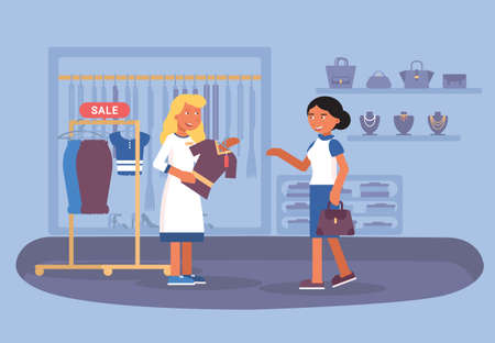 Illustrazione vettoriale piatta di vendita del negozio di abbigliamento