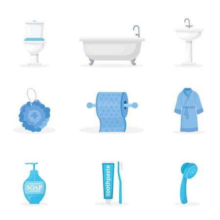 Bathroom accessories flat illustrations set Vecteurs