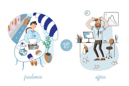 Freelance vs office work vector illustration