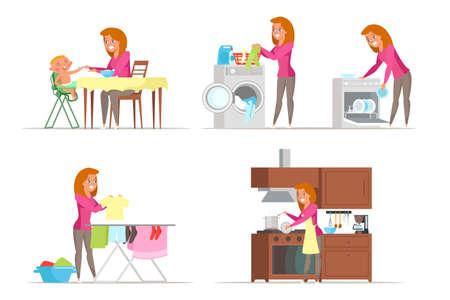 Housewife duties flat vector characters set