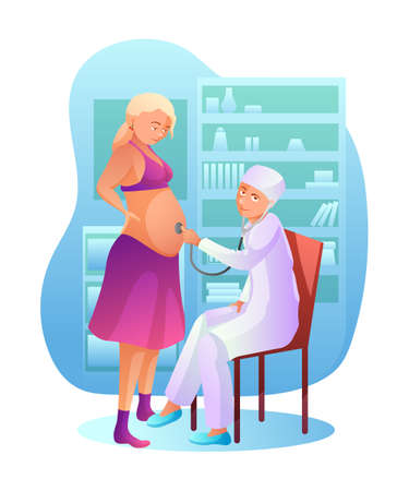 Pregnancy check up flat vector illustration