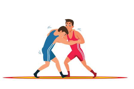 Greco roman wrestling flat vector illustration Vektorové ilustrace