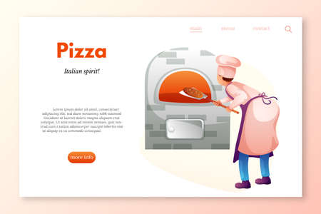Pizza restaurant website template. Baker in kitchen flat character. Chef cooking pizza in stove. Chef baking bread isolated clipart. Bakery, restaurant, cafe, cafeteria staff. Pizzaiolo making dinner Illustration