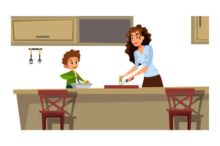 Mother with kid cooking flat vector illustration. Cooking workshop. Culinary kids classes. Sun helping to make salad in kitchen. Parent with child cartoon characters