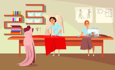 Tailoring workshop flat vector illustration Ilustracje wektorowe