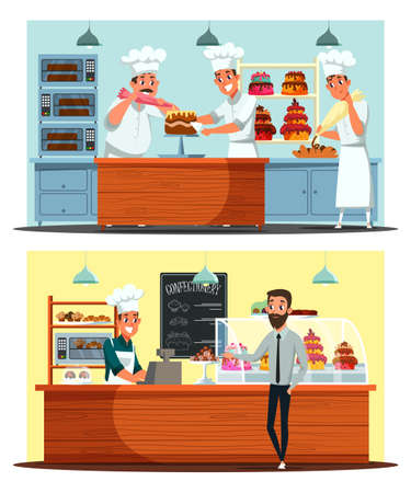 Confectionery, candy shop vector illustration set