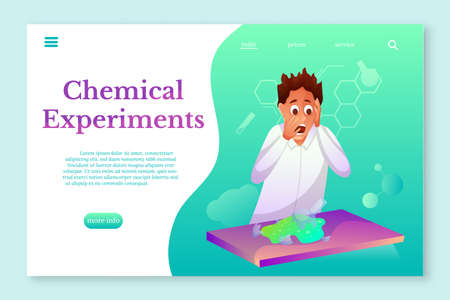 Chemical Experiments landing page template. Chemistry student flat character
