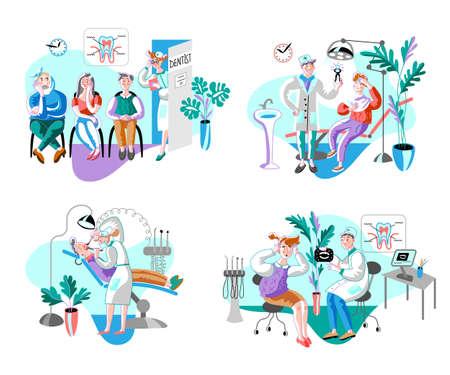 Dental clinic patients flat illustrations set Vector Illustration