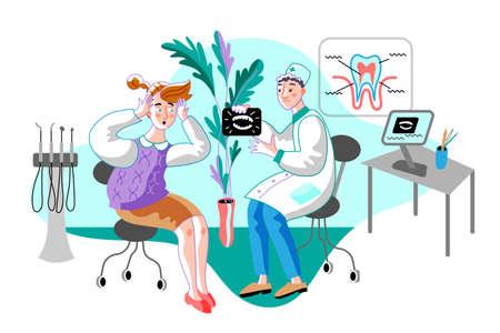 Woman in orthodontist office flat illustration