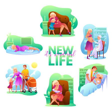 Maternity flat vector illustrations set