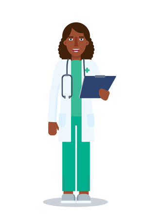 Female doctor flat vector character