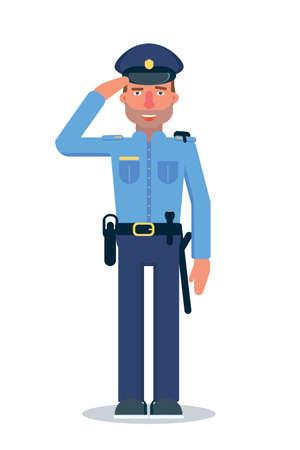 Police officer flat vector character Ilustração